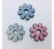 Dekorace - kytičky, modrá, šedivá, růžová, 5 ks