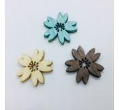 Dekorace - kytičky, modrá, hnědá, krémová, 5 ks