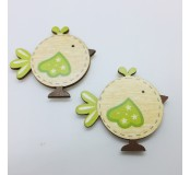 Dekorace - ptáčci, zelený dekor, 2 ks