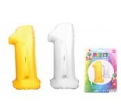 Balónek nafukovací ve tvaru čísla 1, stříbrný