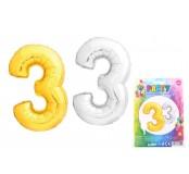 Balónek nafukovací ve tvaru čísla 3, zlatý