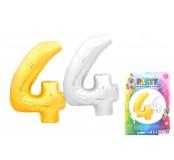 Balónek nafukovací ve tvaru čísla 4, stříbrný