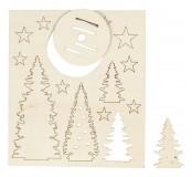 Sada dřevěných vánočních stromečků, 20 x 17 cm