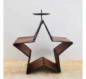 Svícen bambusový hvězda 20 cm, tmavý
