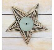 Svícen proutěný hvězda 27 cm, šedohnědý