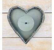 Svícen proutěný srdce 22x22cm, šedý