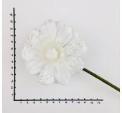 Dekorace - květ bílý anemonka třpyt
