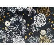 Dekorační látka - bavlna, černá, květy