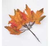 Dekorace - listy oranžové, 10 ks